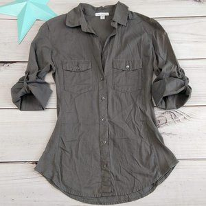 Standard James Perse olive green button down shirt